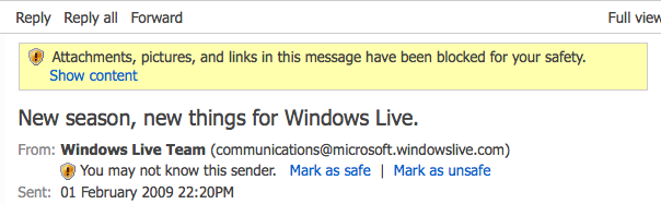 Hotmail finds itself suspicious!