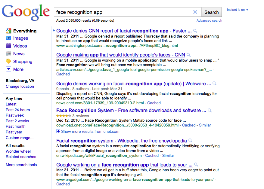 "Google results for ""face recognition app"""